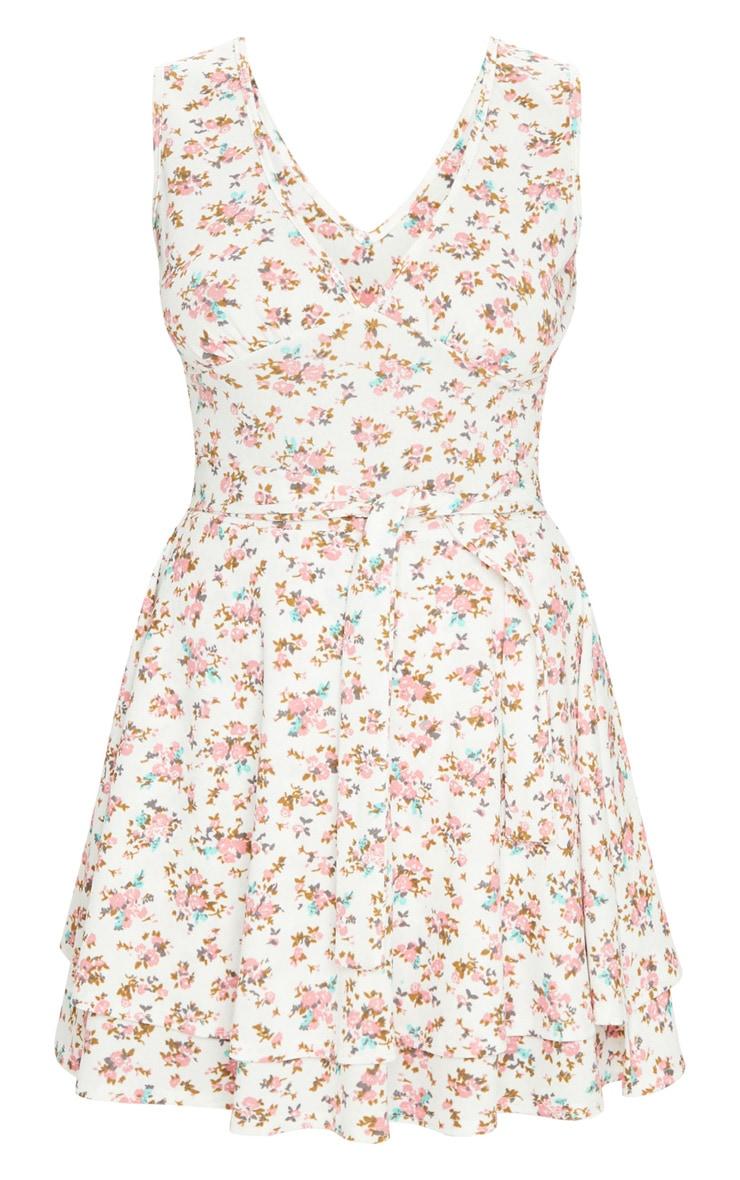 White Floral Print Tie Skater Dress 5