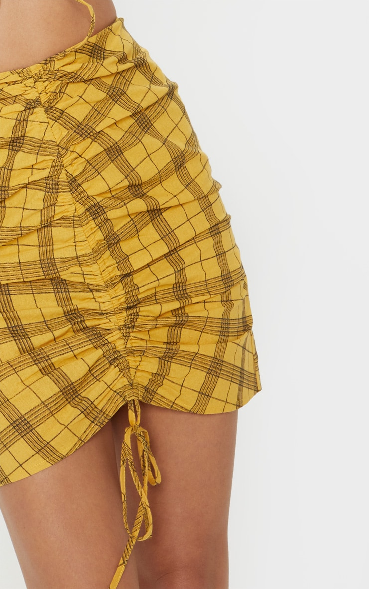 Mustard Check Print Ruched Front Mini Skirt 6