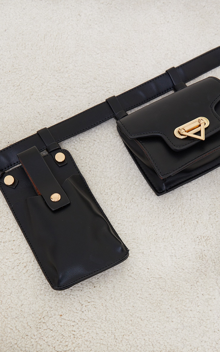 Black Multi Pocket Bag Belt 2