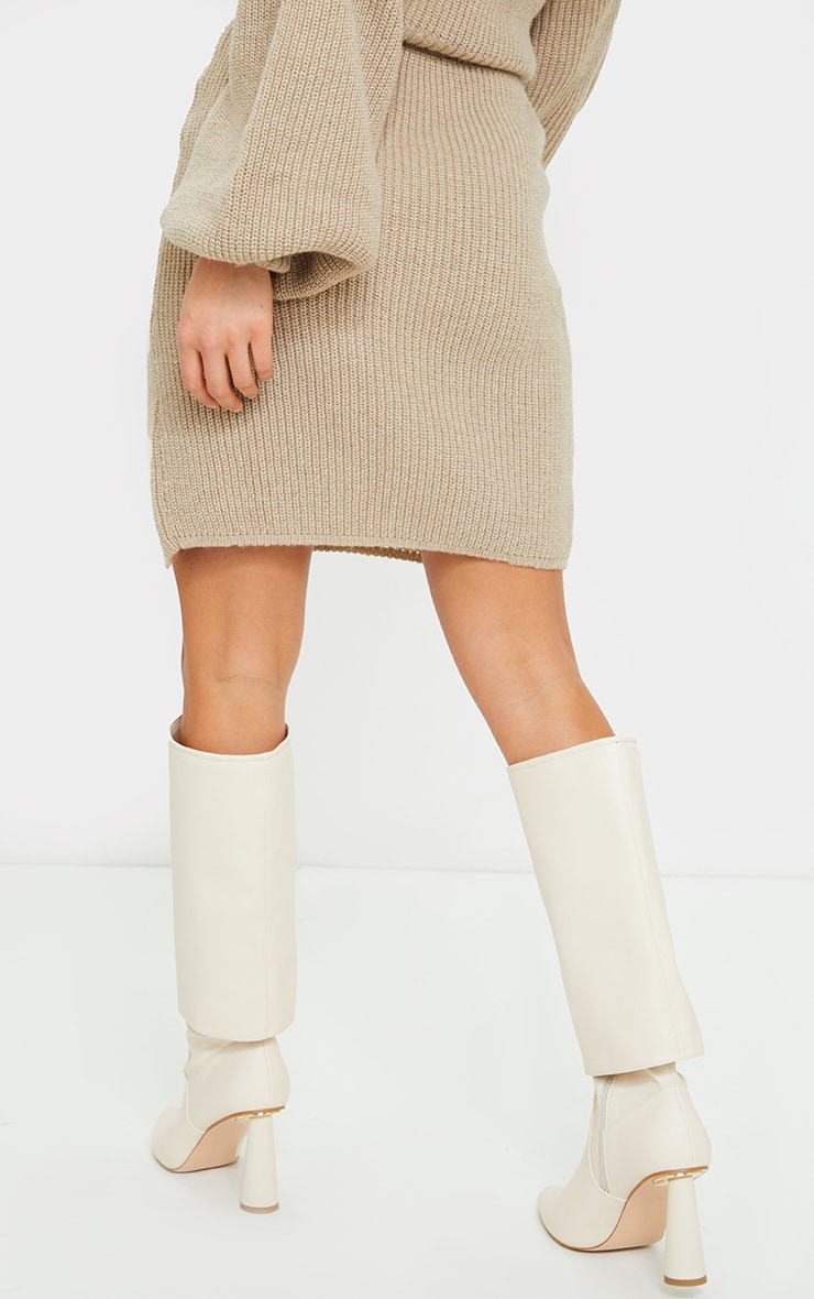 Petite Stone Knitted Split Bodycon Skirt 3