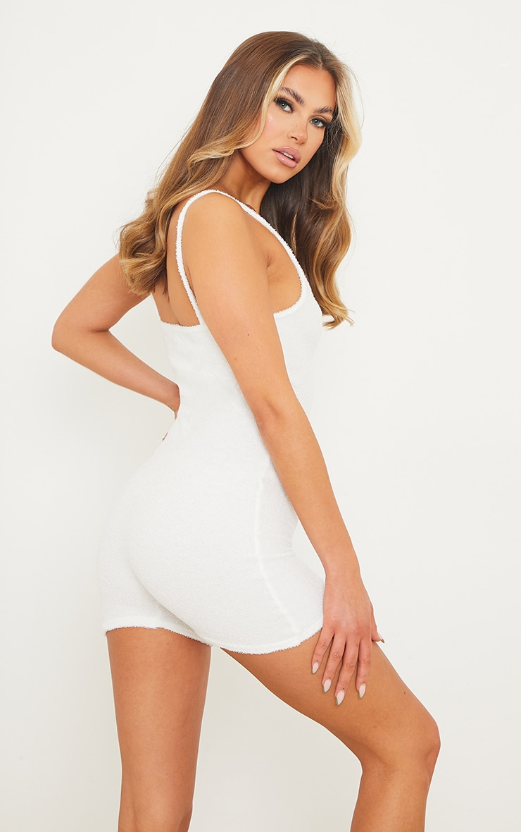 White Terry Towelled Strappy Romper 2