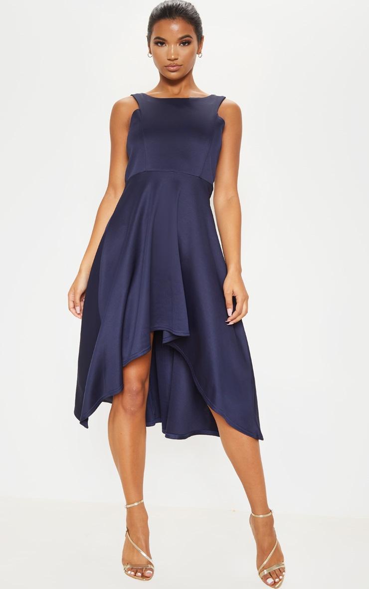 Midnight Blue Scuba Sleeveless Drop Hem Midi Dress 4