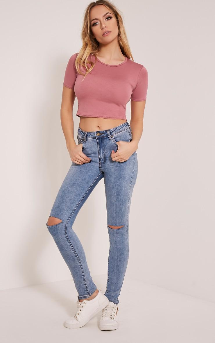 Basic Rose Short Sleeve Crop Top 5