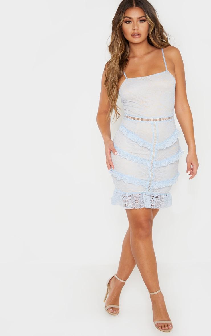 Dusty Blue Lace Frill Bodycon Dress 4