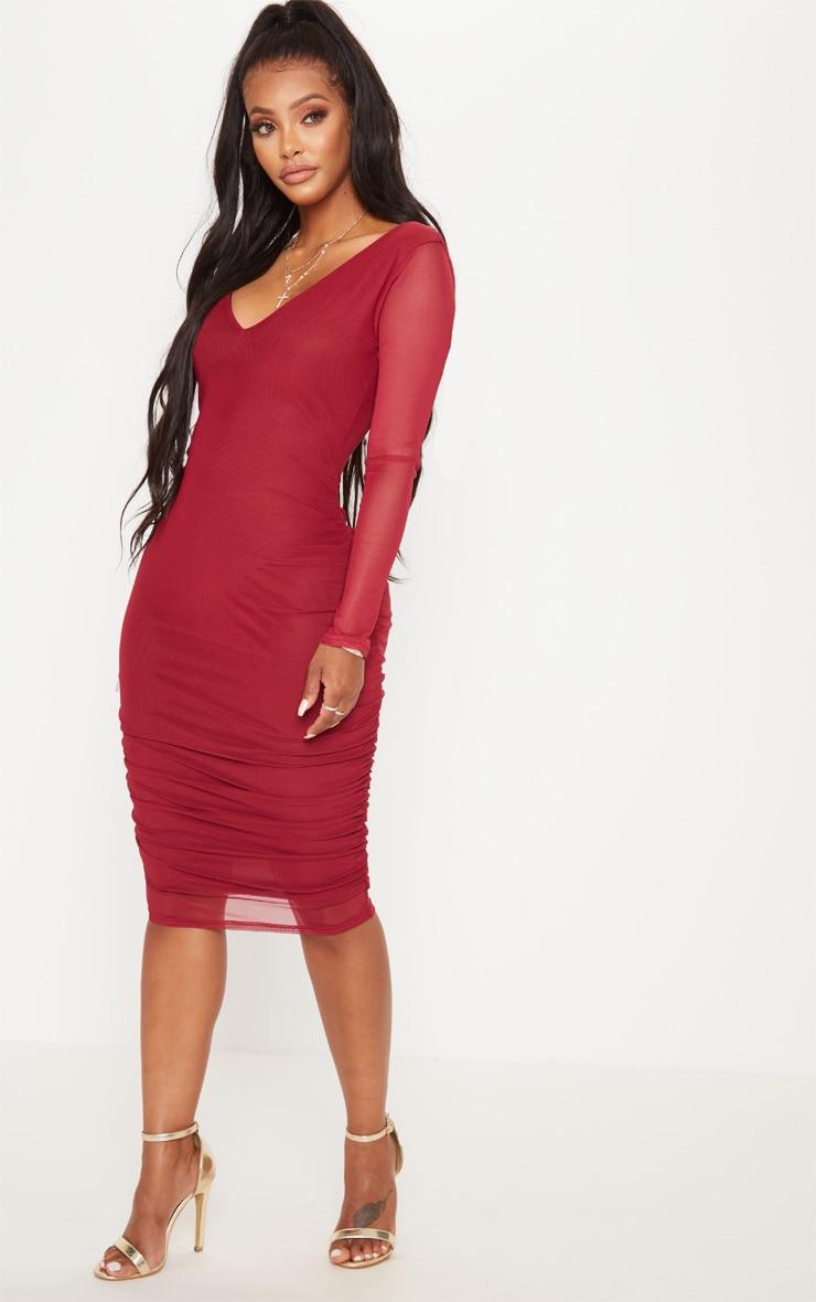 Shape Burgundy Mesh Plunge Back Ruched Bodycon Dress 3