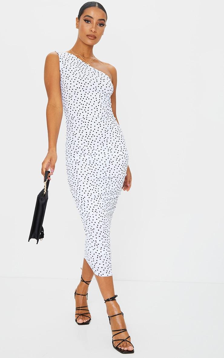 White Polka Dot One Shoulder Ruched Midi Dress 1