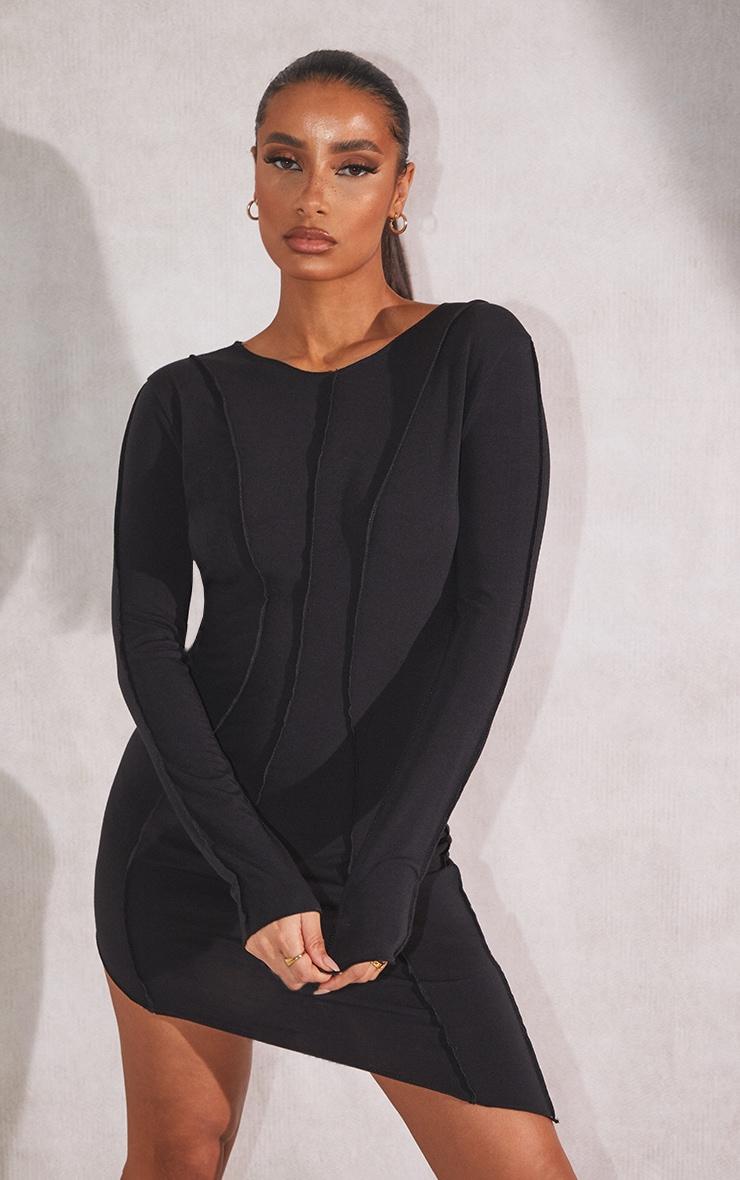 RECYCLED Black Jersey Raw Seam Long Sleeve Asymmetric Midi Dress 1