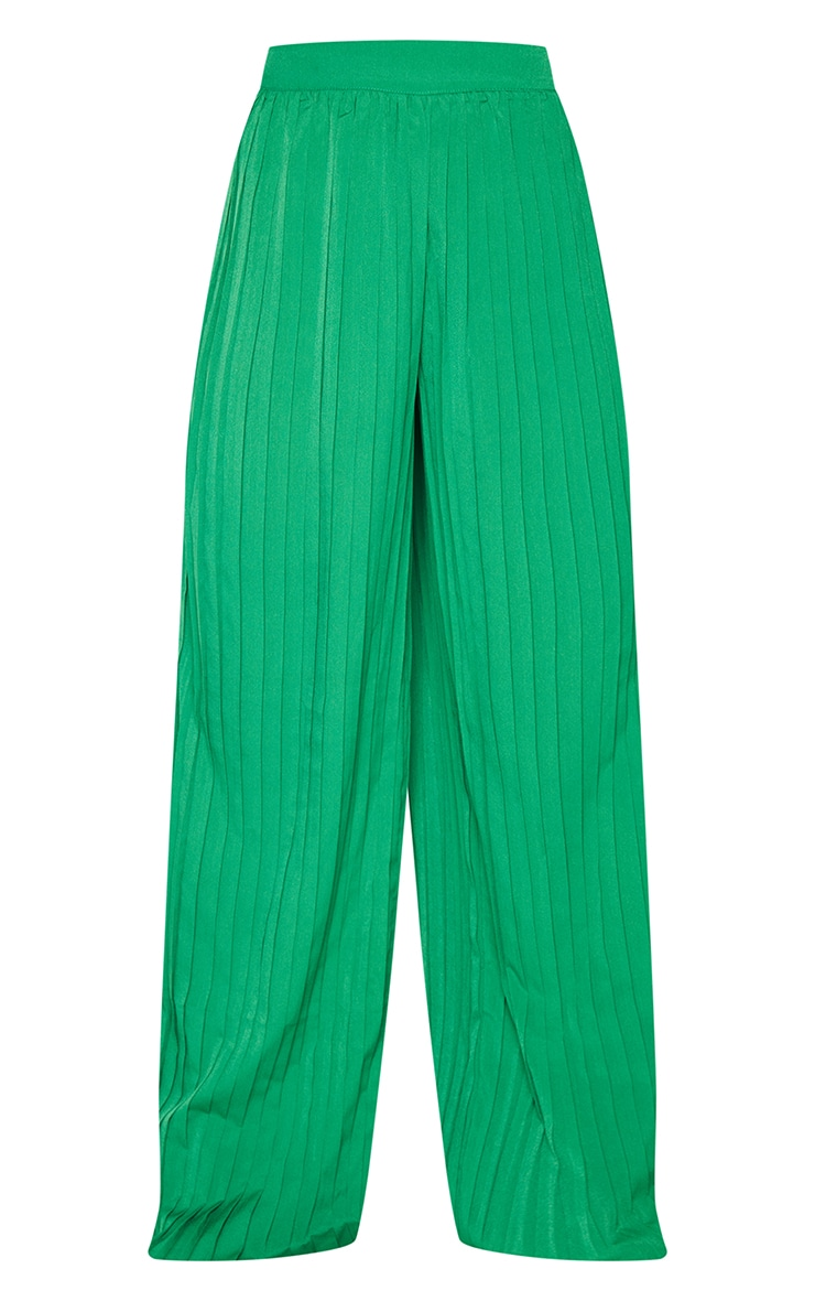 Bright Green Wide Leg Pleated Trousers 5