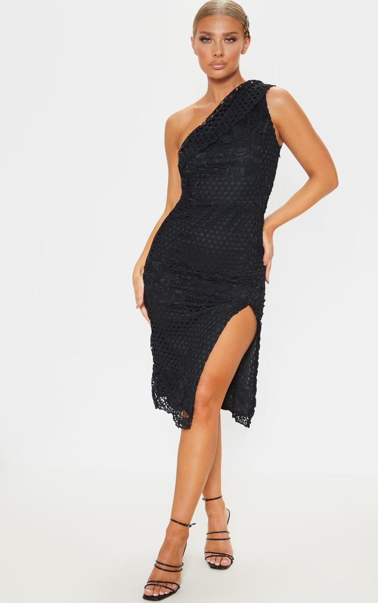 90d649d0e3ae Black Lace One Shoulder Bodycon Midi Dress | PrettyLittleThing