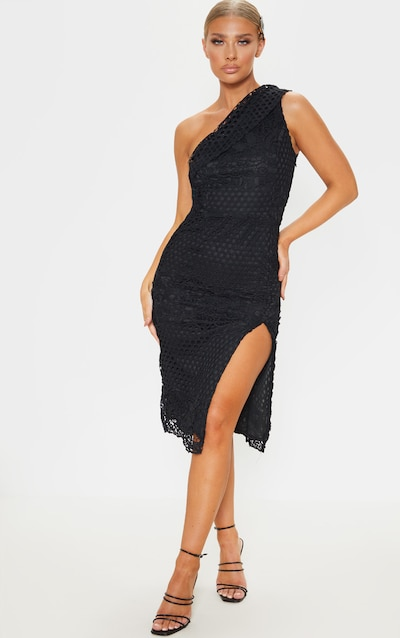 bc74b42026 Black Lace One Shoulder Bodycon Midi Dress
