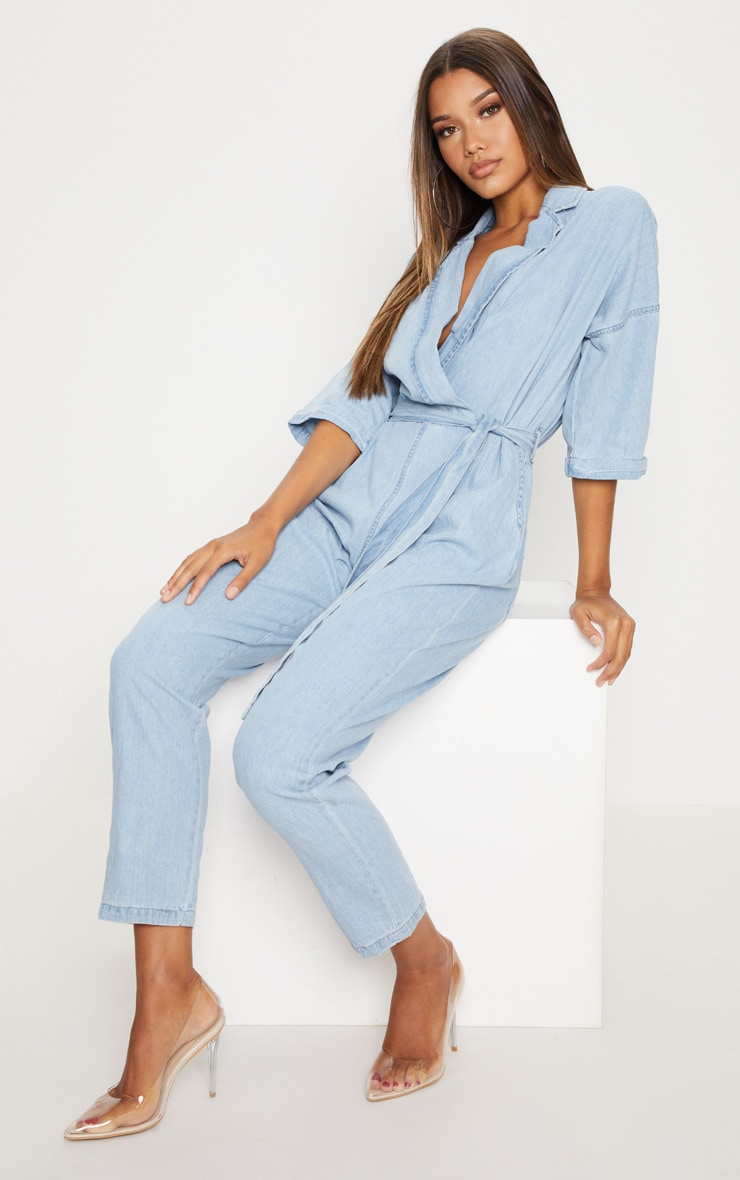 Light Wash Denim Utility Jumpsuit 4