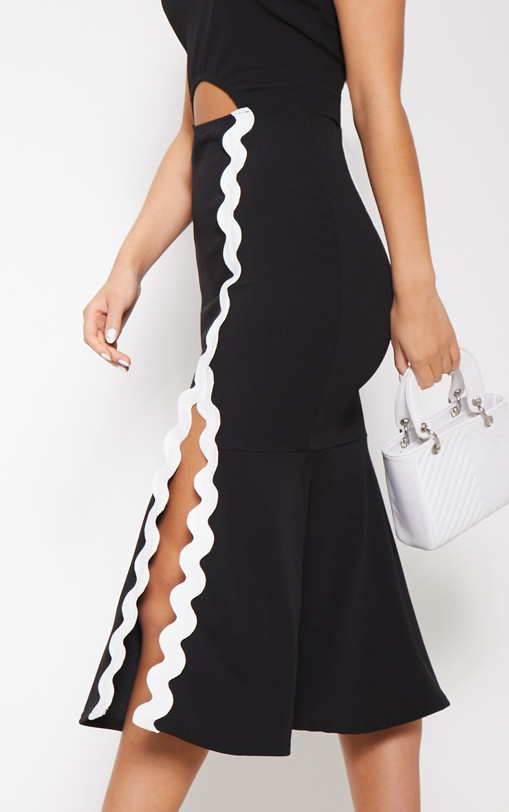 Monochrome Bandeau Flute Hem Midi Dress 5