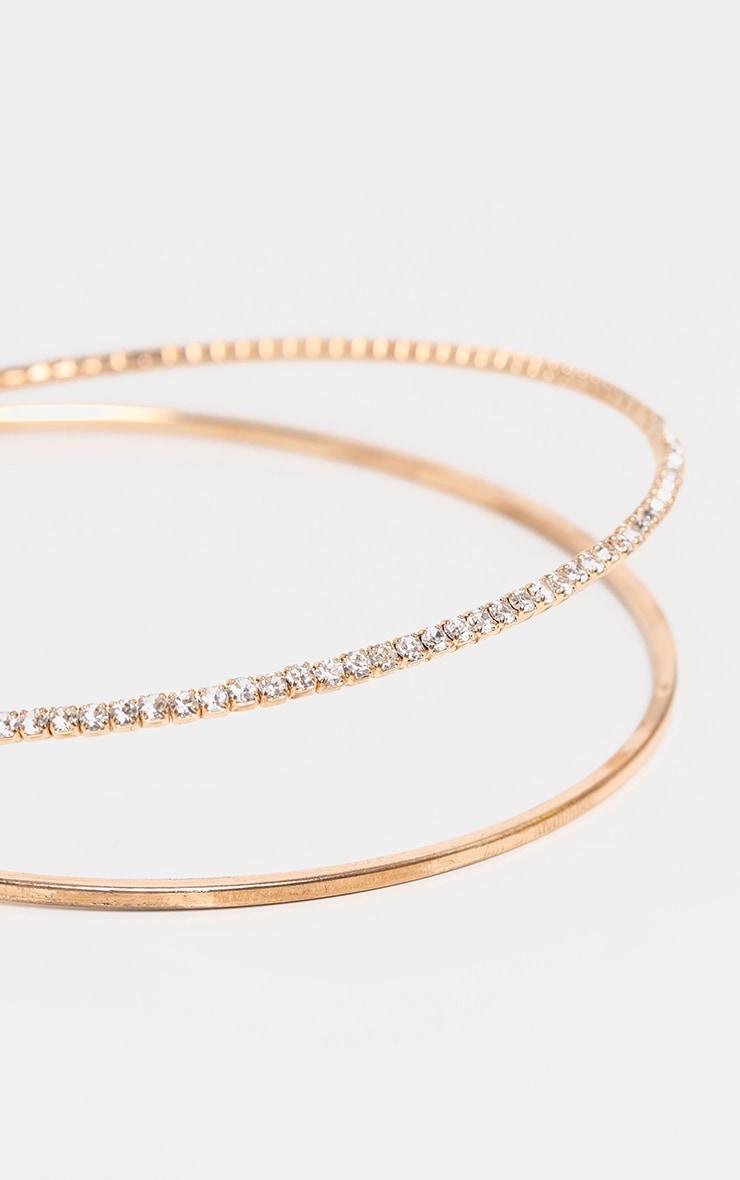 Gold Diamante Double Choker Necklace 3