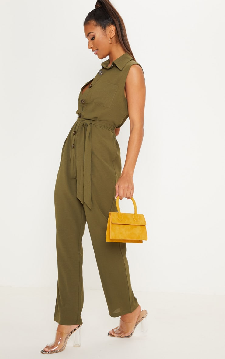Khaki Tortoiseshell Button Sleeveless Jumpsuit 4