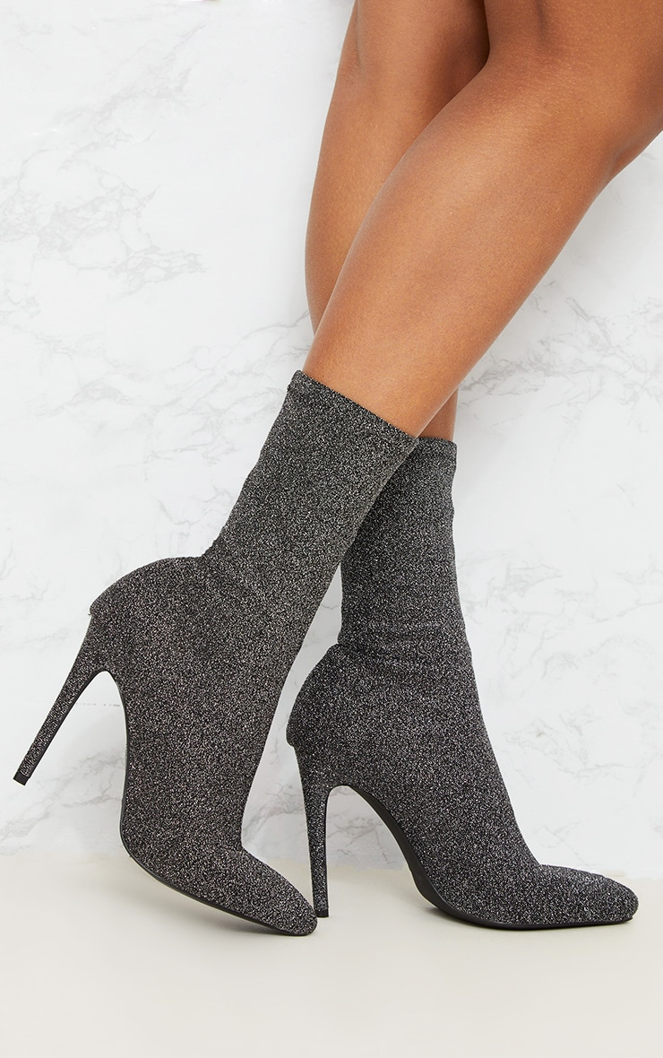 Black Glitter Sock Pointy Boots 1