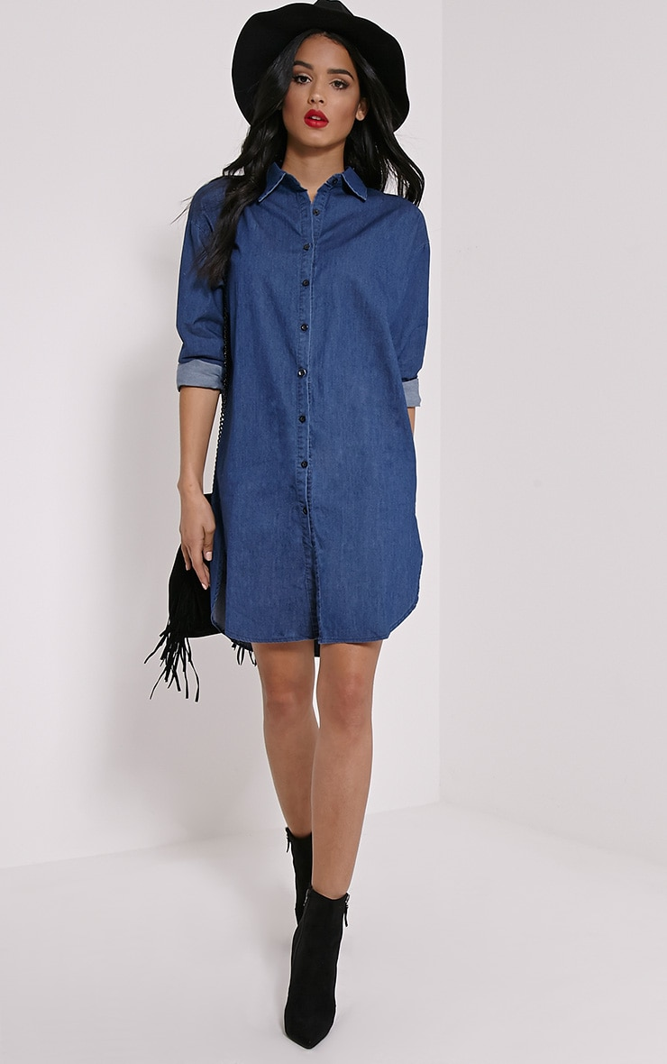 Jolie Blue Denim Shirt Dress 1