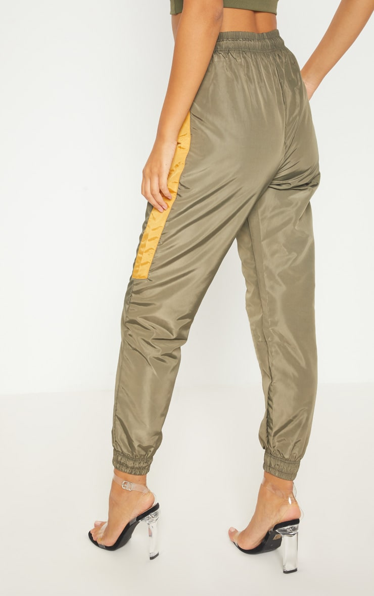 Sage Green Contrast Panel Shell Trouser 4