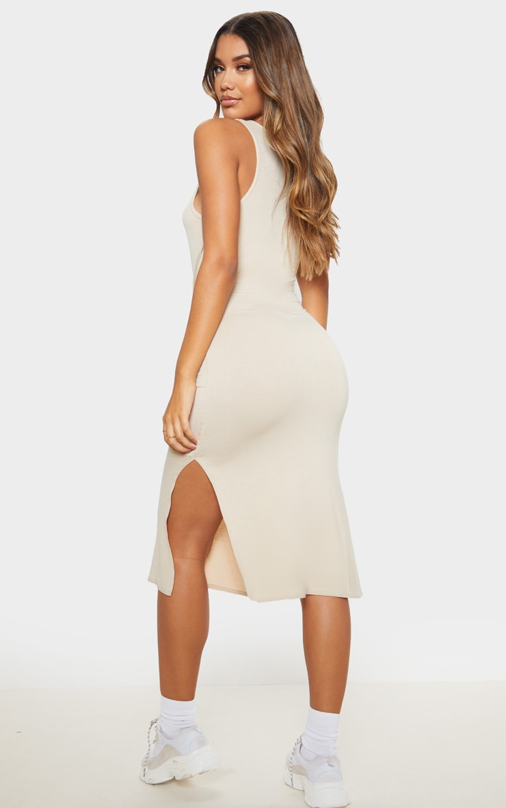 Beige Sleeveless Tie Waist Midi Dress 2