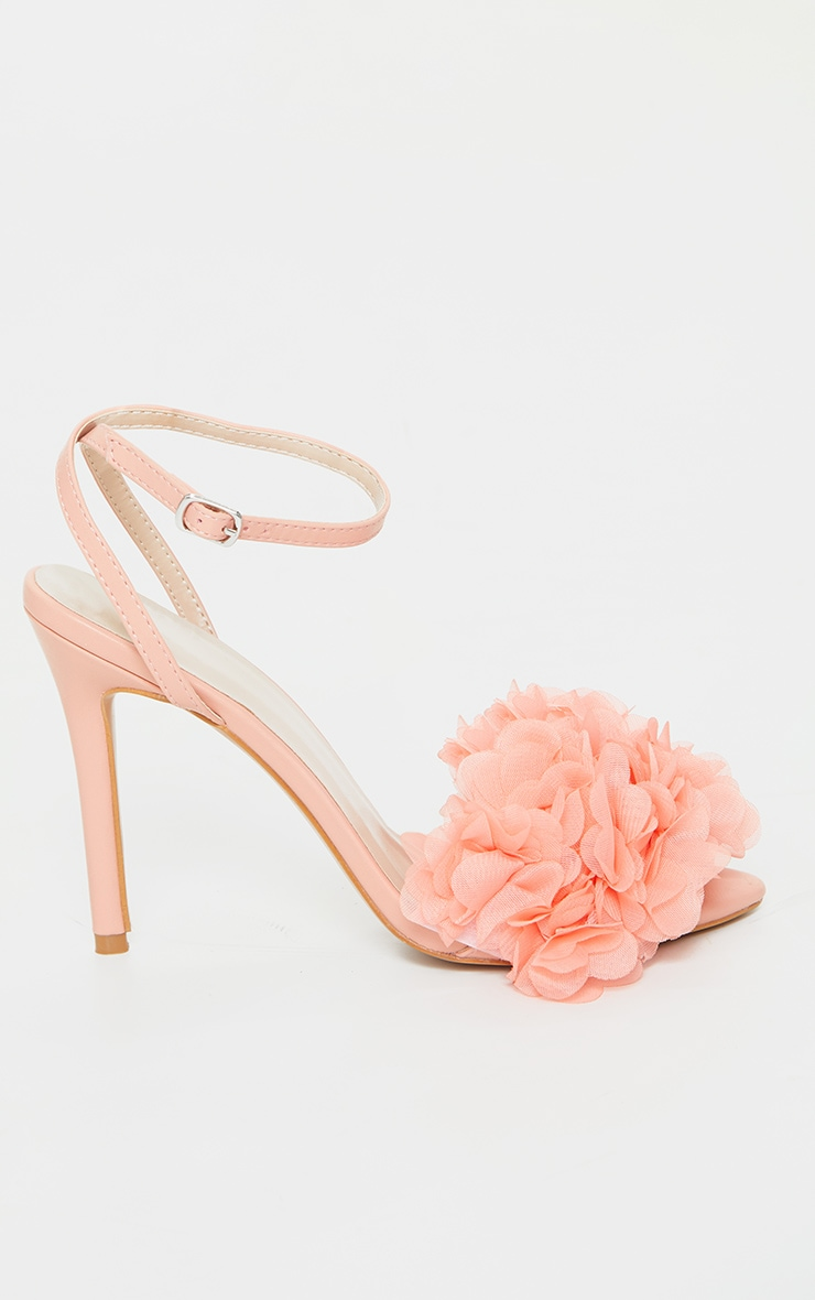 Peach Flower Embellished Strappy Heeled Sandals 3