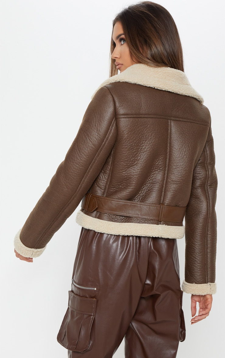 Brown Contrast Faux Fur Cropped Aviator 2
