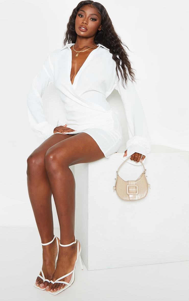 White Textured Woven Extreme Plunge Bell Cuff Shirt Dress 3