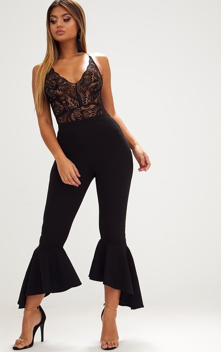 Lucille Black Sheer Lace Cross Back Bodysuit 5