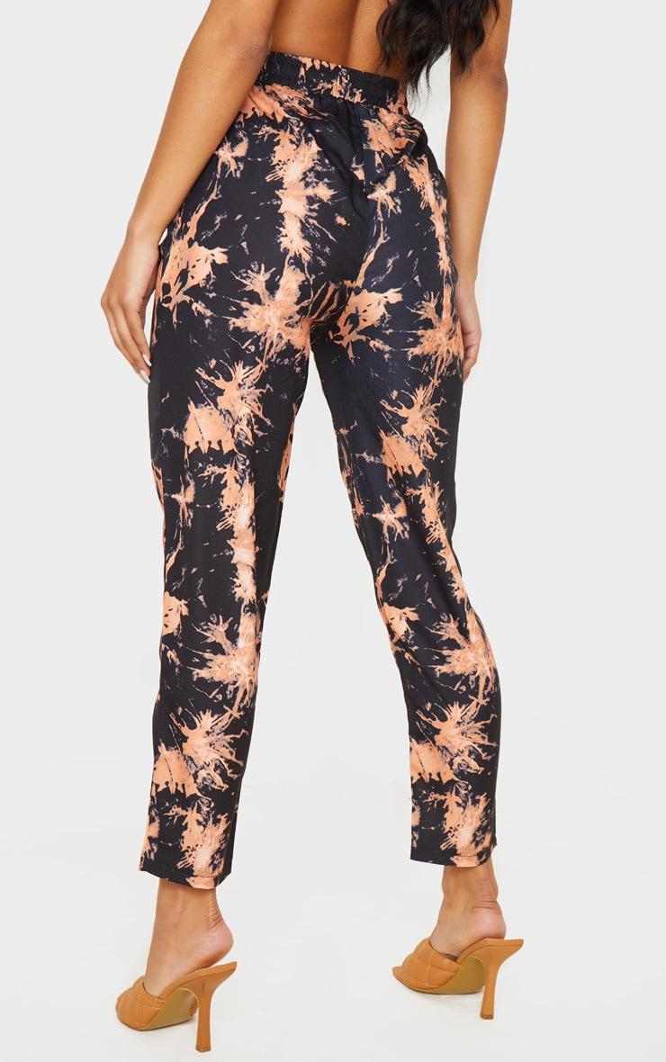 Black Tie Dye Woven High Waisted Straight Leg Pants 4
