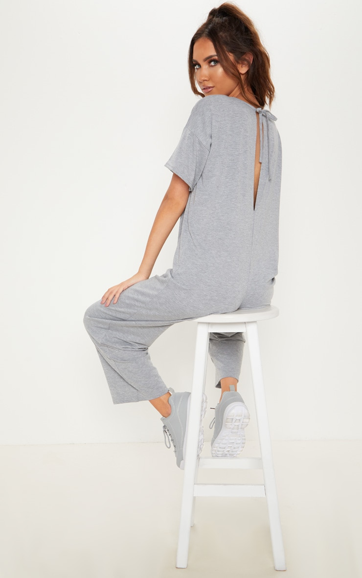 Grey Marl Oversized T Shirt Culotte Jumpsuit