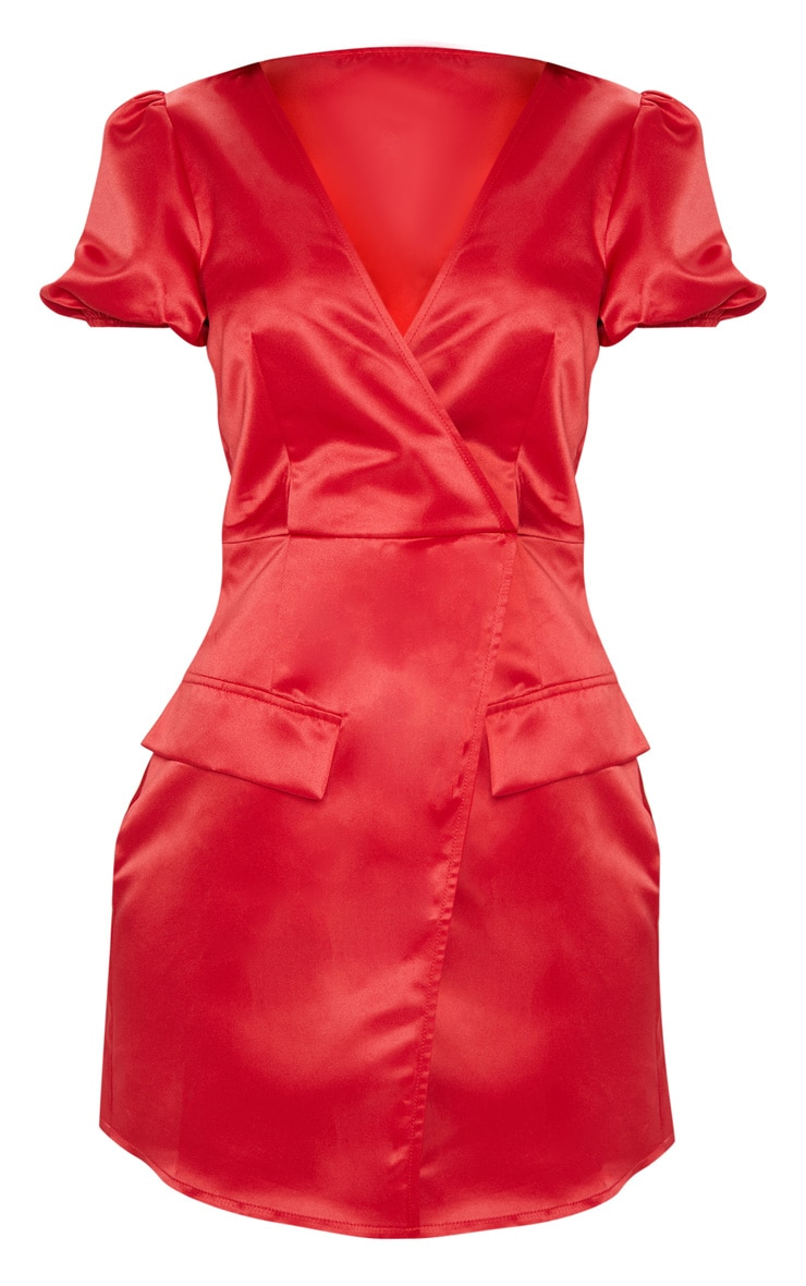 Red Satin Puff Sleeve Pocket Detail Shift Dress 3