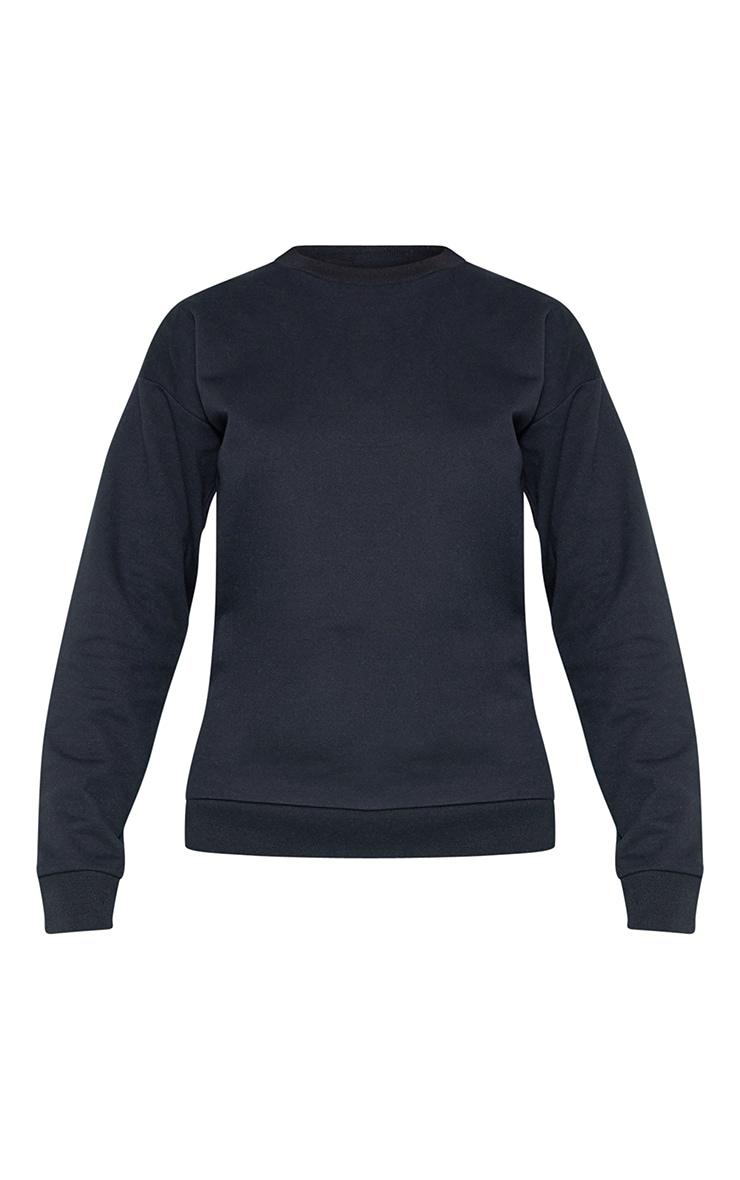 RECYCLED Black Crew Neck Sweater 3