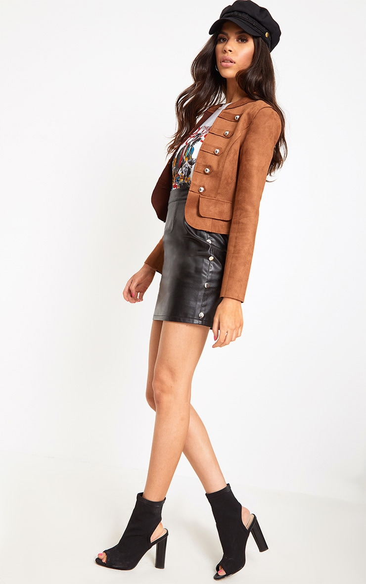 Tan Faux Suede Military Jacket 5