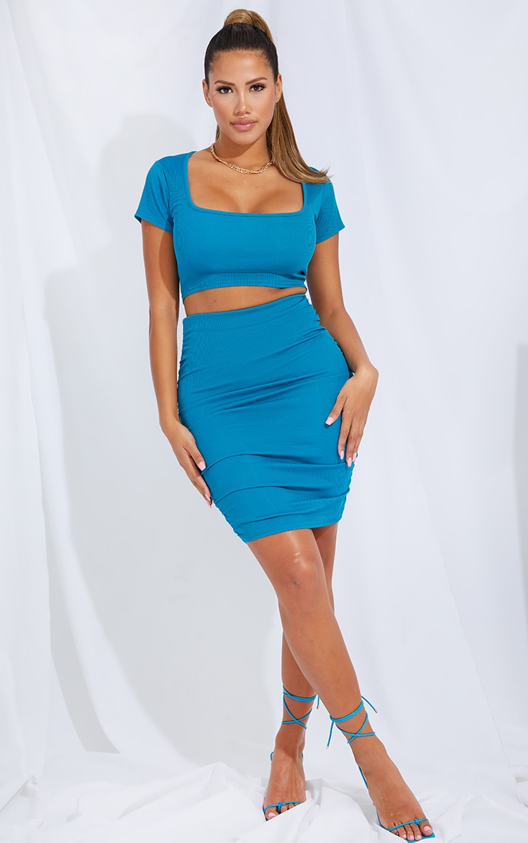 Shape Teal Rib Square Neck Crop Top 3