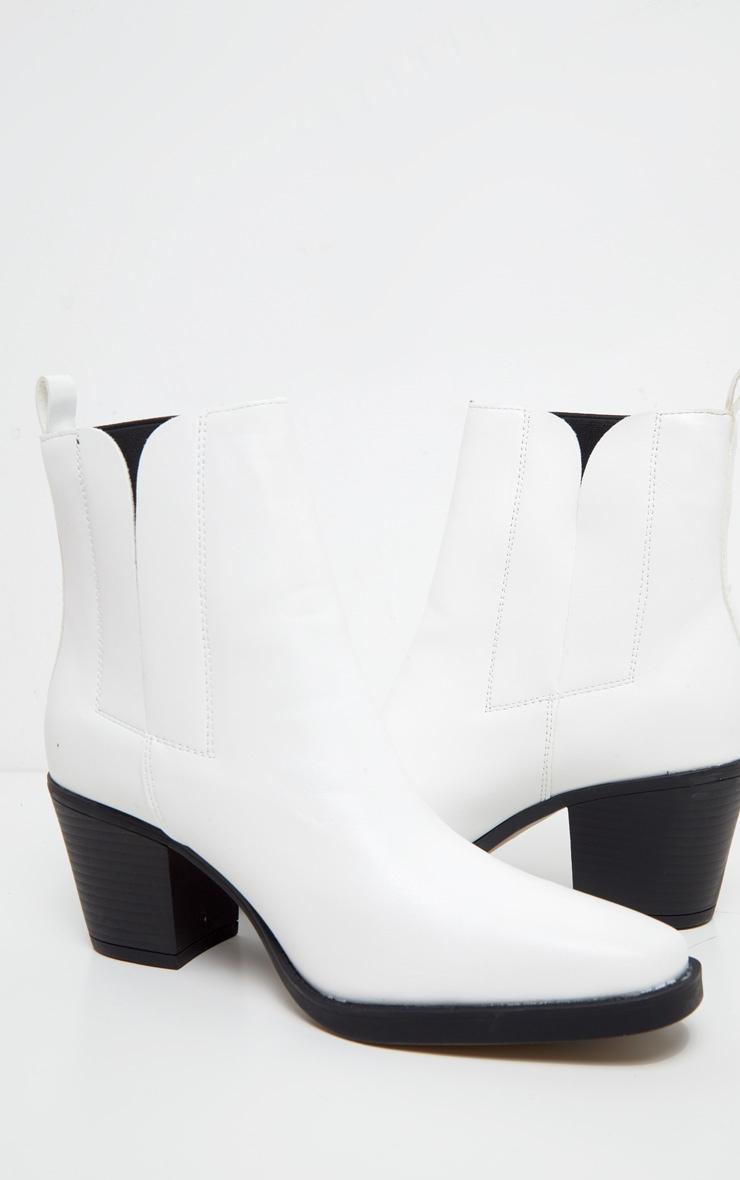 Bottines au style western blanches 4