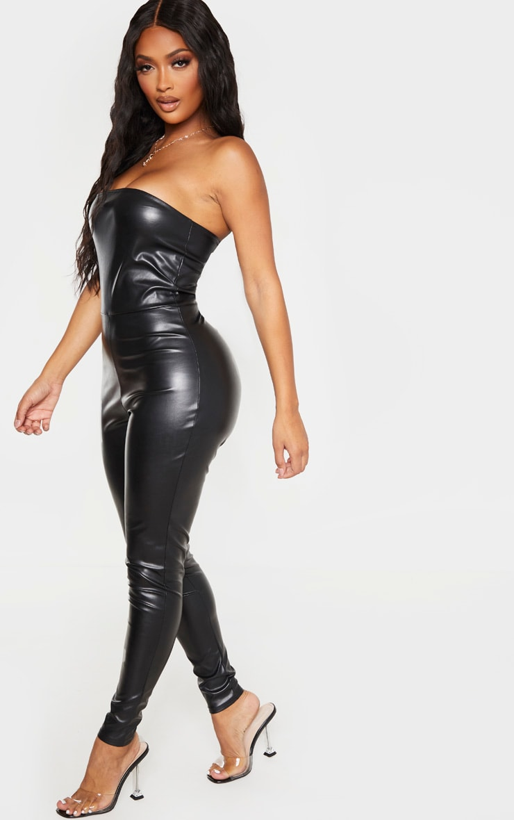 Shape Black PU Bandeau Jumpsuit 3