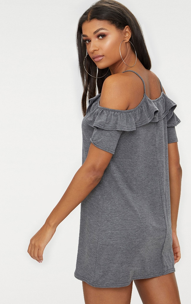 Charcoal Jersey Cold Shoulder Shift Dress 3