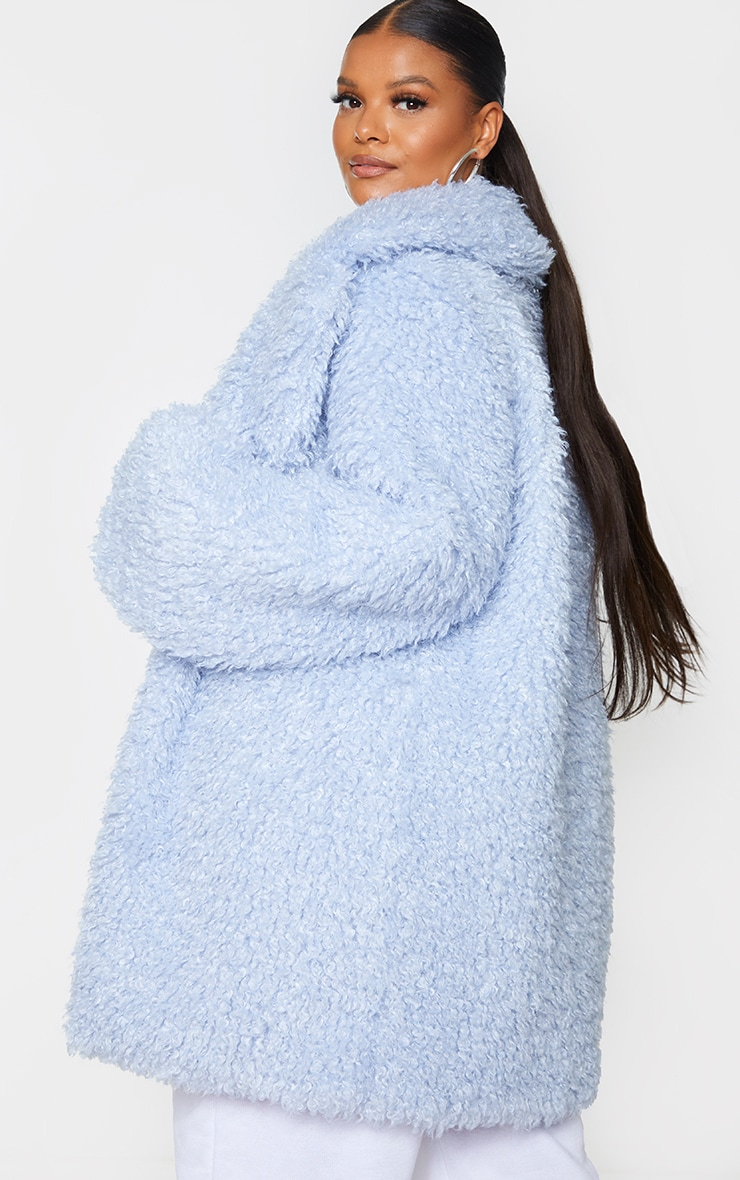 Plus Baby Blue Teddy Faux Fur Coat 2