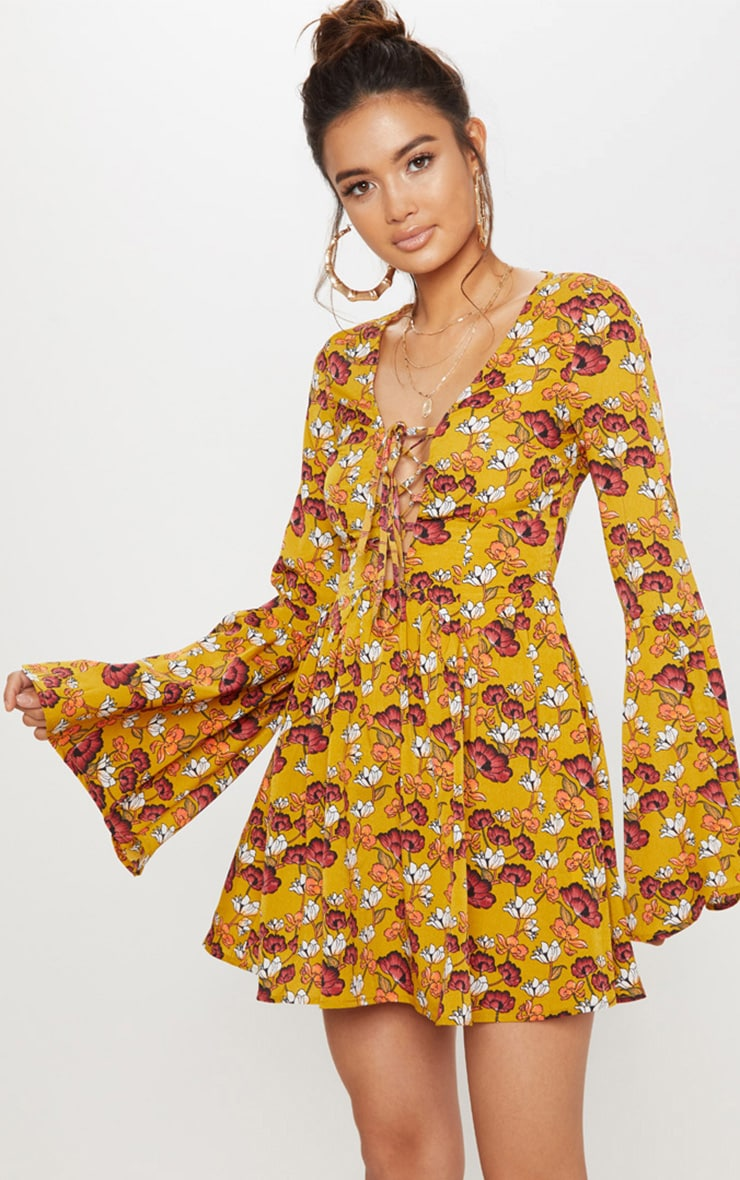 Mustard Floral Fluted Sleeve Strappy Detail Skater Dress 1