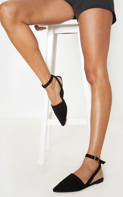 Black Point Toe Slingback Ankle Strap Flat
