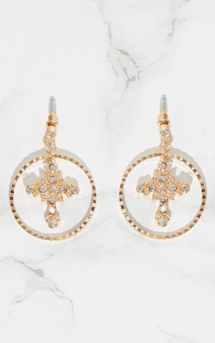 Gold Diamante Mini Cross Hoop Drop Earrings 4