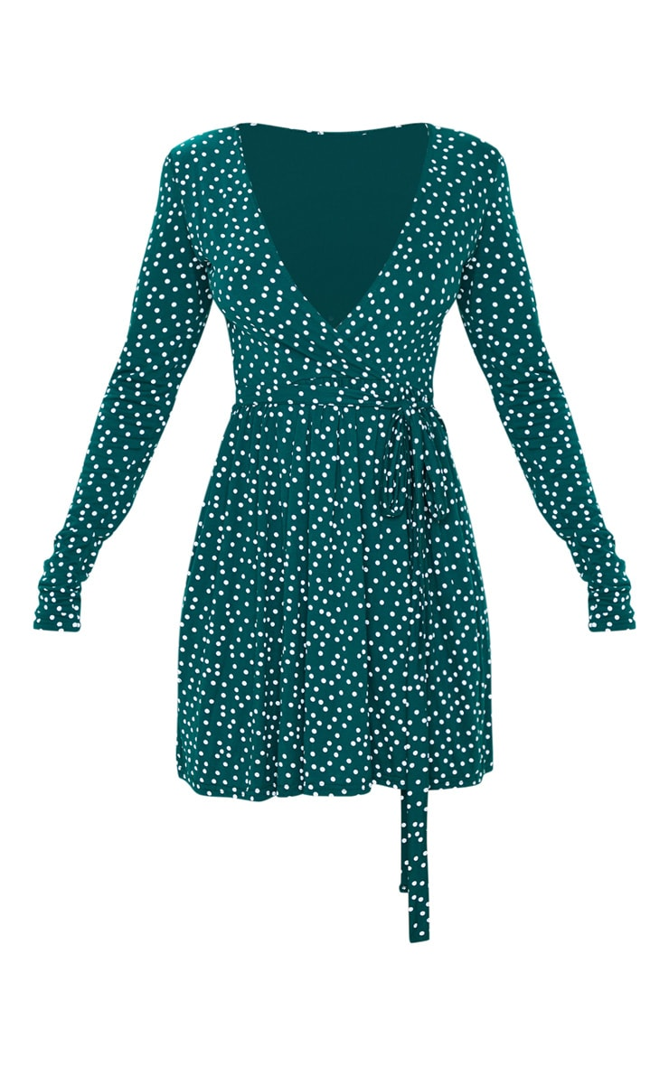 Emerald Green Polka Dot Print Wrap Long Sleeve Tea Dress 3
