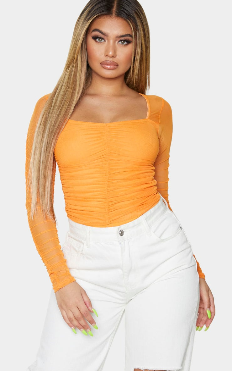 Hot Orange Mesh Ruched Square Neck Bodysuit 4