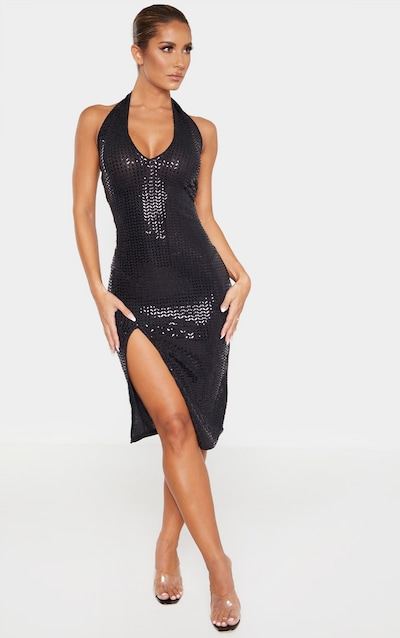 Black Sequin Split Detail Halterneck Midi Dress