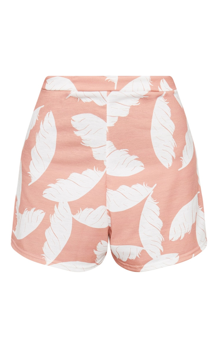 Nude Palm Print High Waisted Shorts 3