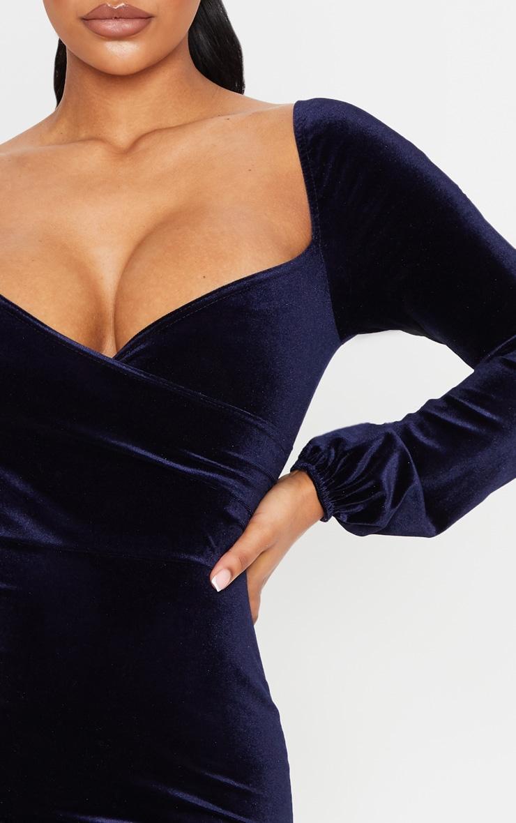 Navy Velvet Long Sleeve Wrap Over Front Bodycon Dress 5