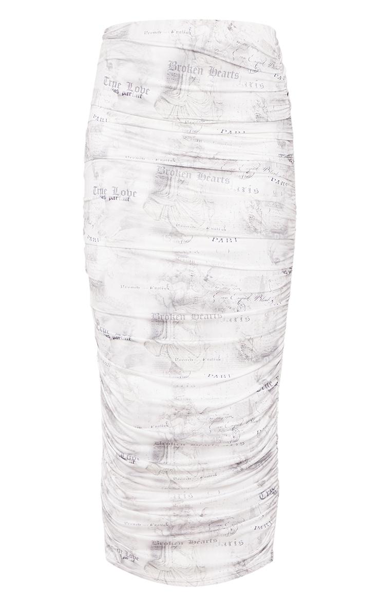 White Text Print Slinky Ruched Midi Skirt 5