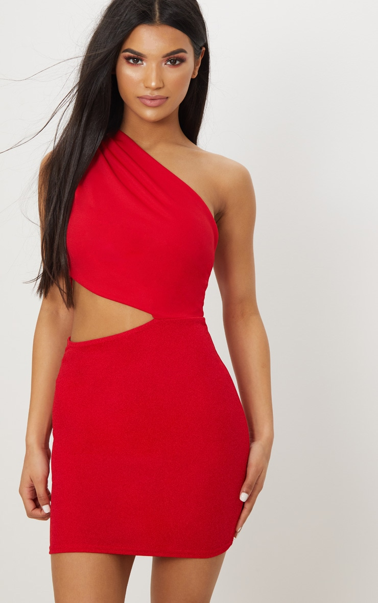 Red One Shoulder Cut Out Bodycon Dress 1