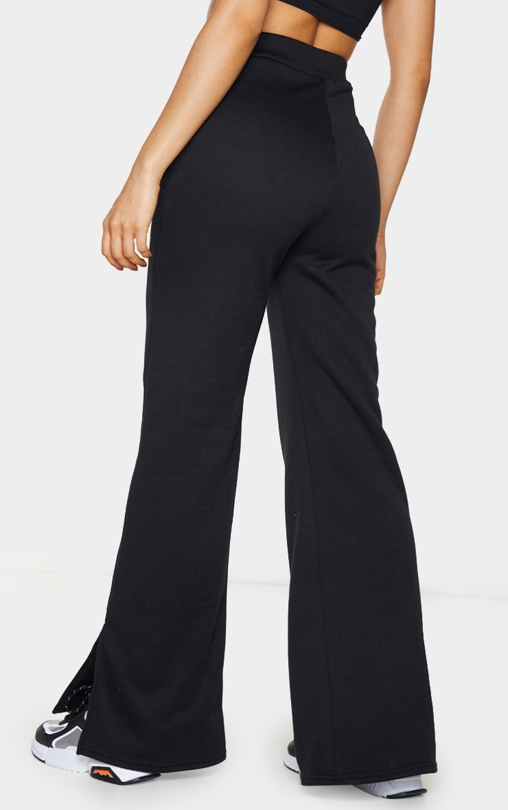Tall Black Split Hem Wide Leg Joggers 3