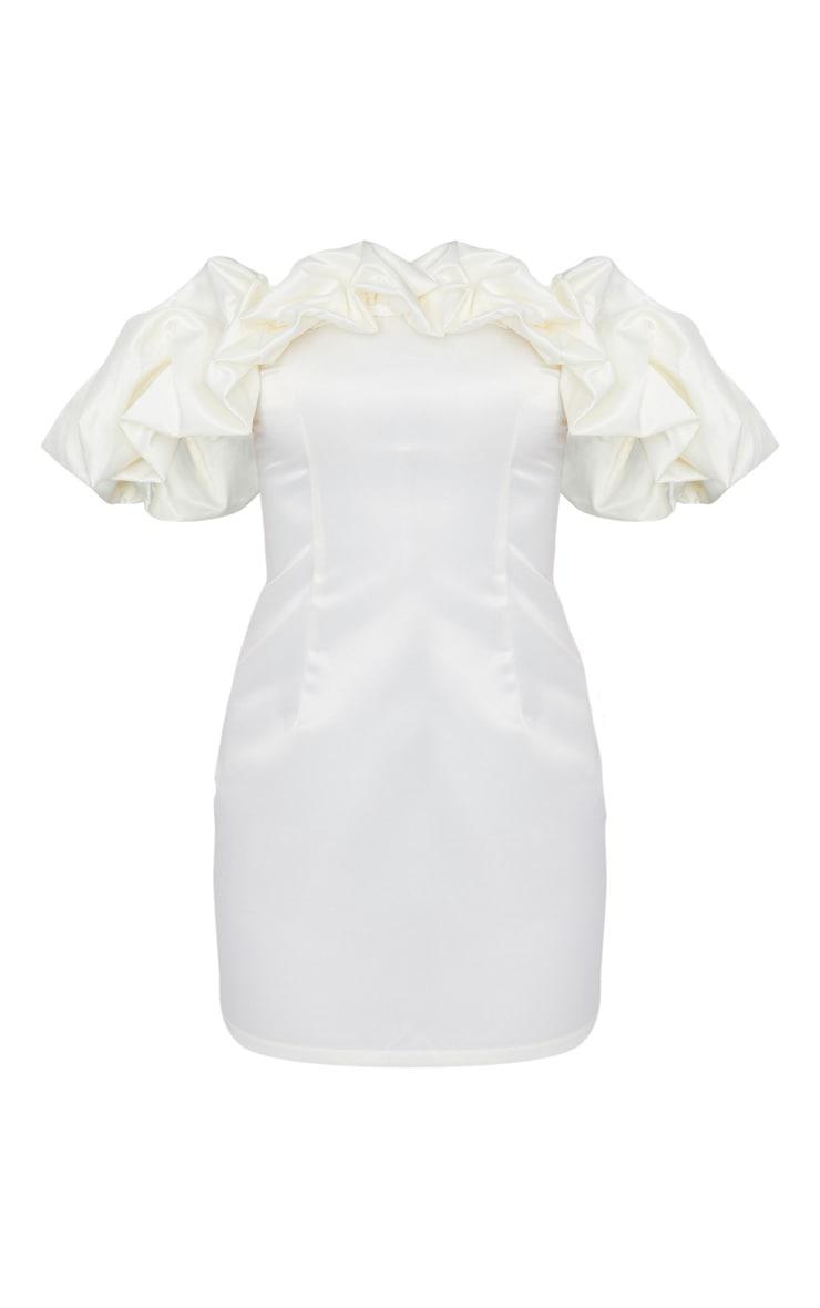 Petite Cream Ruched Bardot Dress 5