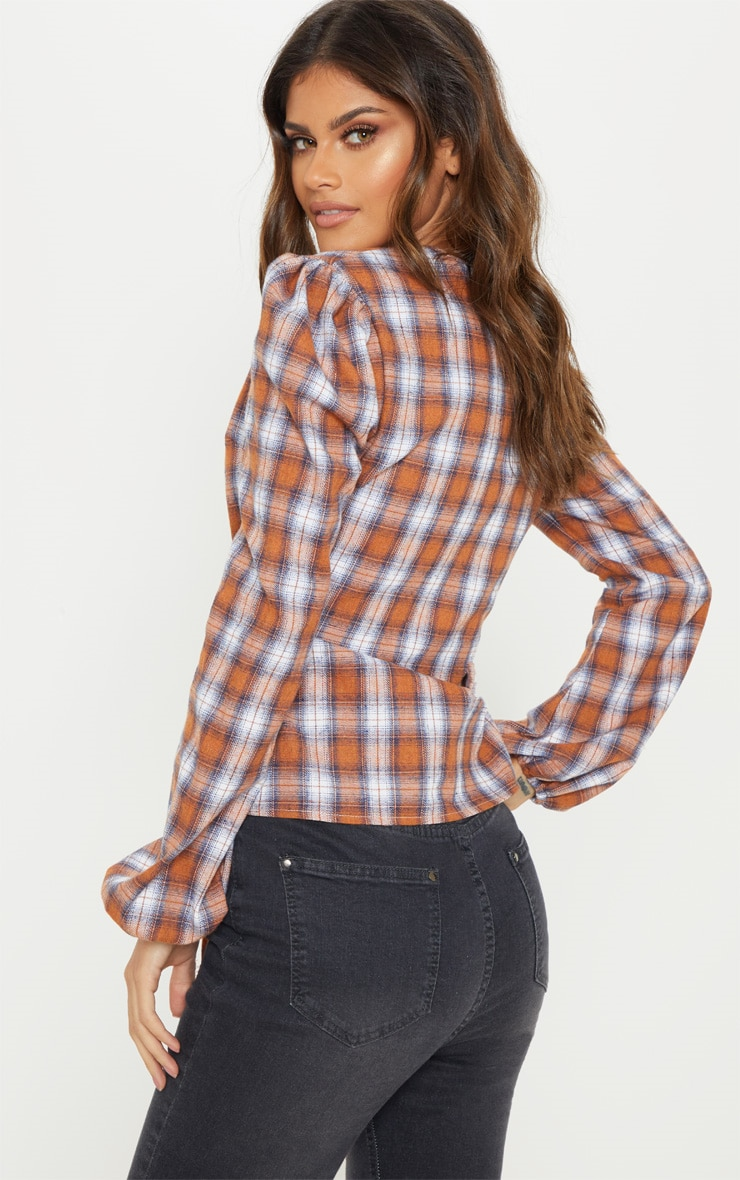 Brown Check Plunge Tie Side Long Sleeve Top 2
