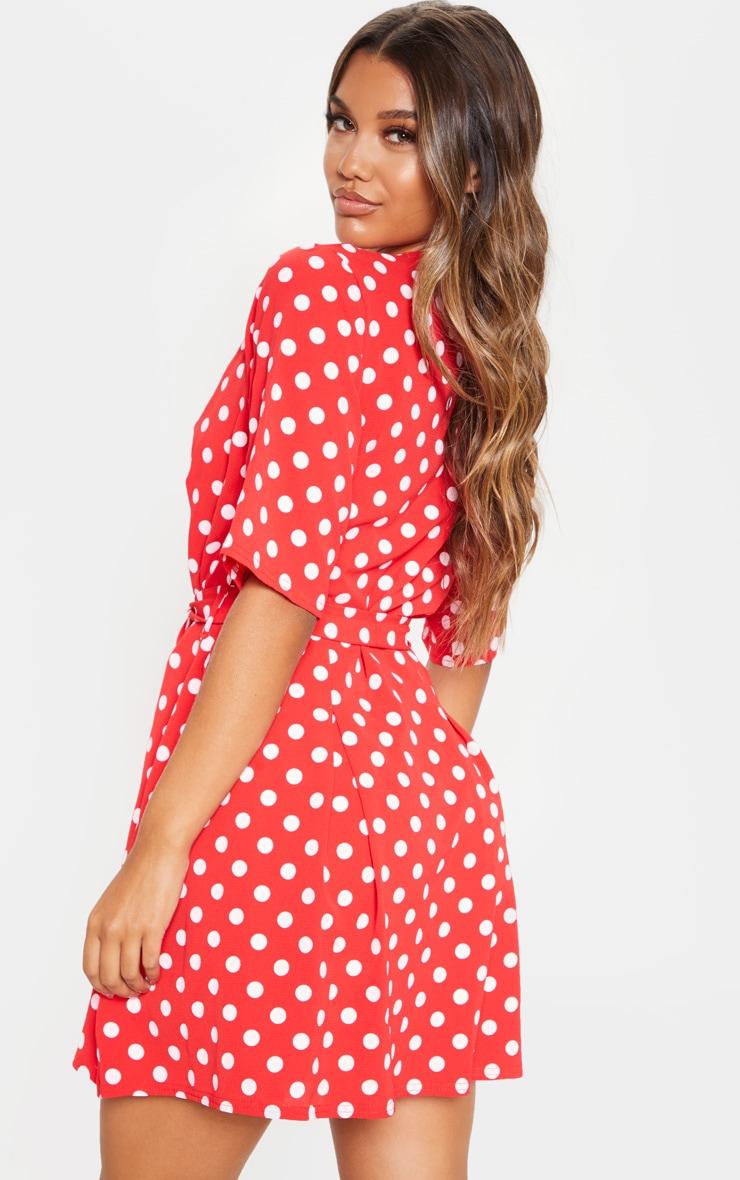 Red Polka Dot Short Sleeve Tie Waist Tea Dress 2